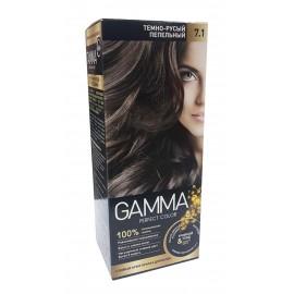 Краска для волос Gamma темно-русый пепельный 7.1